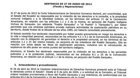 Sentencia Pueblo Indígena Kichwa de Sarayaku Vs. Ecuador. CDH-12.465 / 207