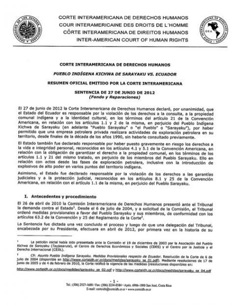 Sentencia Pueblo Indígena Kichwa de Sarayaku Vs. Ecuador. CDH-12.465/207