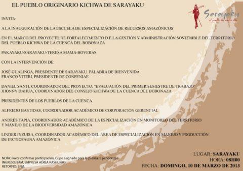 El Pueblo Originario kichwa  de Sarayaku