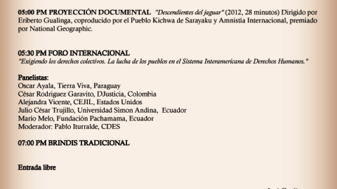 Invitación de Sarayaku con la lista de los Panelistas (Debate) les esperamos