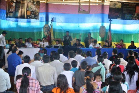 Discurso de José Tayak Apu durante la celebración del primer Aniversario en Sarayaku.