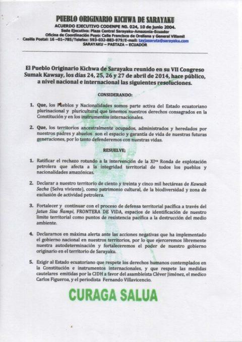 Resolución del VII congreso Sumak Kawsay del Pueblo de Sarayaku