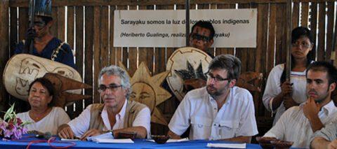 El Pueblo Originario Kichwa de Sarayaku se organiza para asistir a la audiencia de supervisión del cumplimiento de la sentencia el 2 de diciembre del 2016 en la Corte Interamericana de Derechos Humanos.