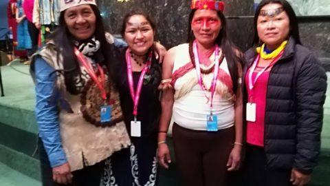 Presidenta de Sarayaku Mirian Cisneros en una gira por  Nueva York